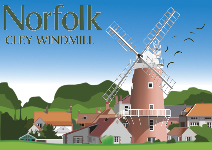 Graphic Design Cley windmill, Norfolk